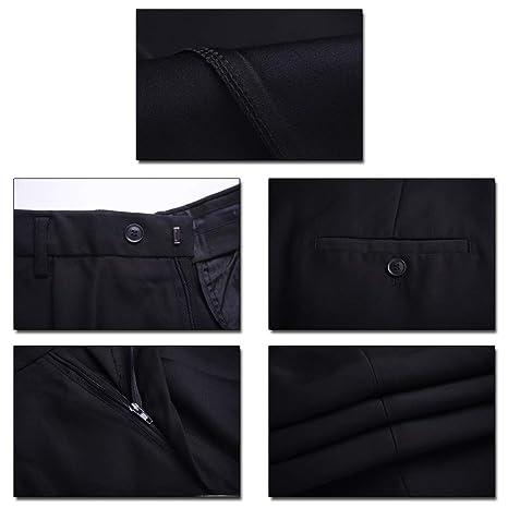 6b4e027ea5675 BOZEVON Pantalones de Traje de Negocios para Hombres - Oficina de Trabajo  Formal Pantalones Largos de Corte Recto Slim Fit  Amazon.es  Ropa y  accesorios