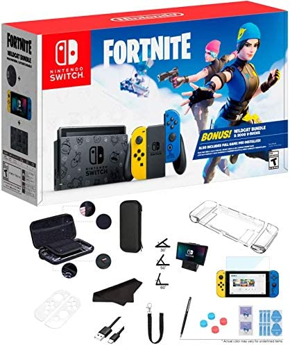 Newest Nintendo Switch Wildcat Bundle Fort-nite Edition 32GB Console - Yellow and Blue Joy-Con, 2000 V-Bucks, 1080p Multi-Touch Screen, WiFi, Bluetooth, HDMI and GalliumPi 12-in-1 Bundle