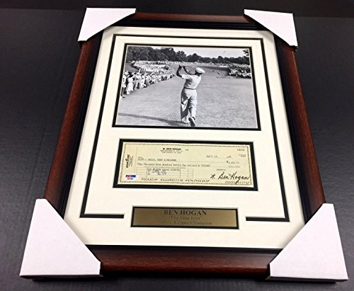 Ben Hogan Autographed Photo - Famous 1 Iron Shot Check Psa 8x10 Framed - Autographed Golf Photos