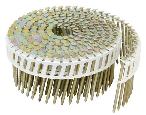 Hitachi 13304 1-3/4'' x 0.086'' Plastic Sheet Electro Galvanized Ring Shank Coil Nails 6000 count