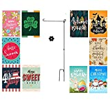 Happy Bug Seasonal Garden Flags Set for Outdoors | 10 Pack Assortment of 12 x 18 Double Sided Polyester Flags | Flag Pole & Rubber Stopper Included | Adorable, Durable, Weather Resistant