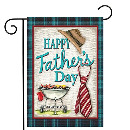Grille Designed (KissDate Double sided Happy Father's Day Garden Flag, Colorful Grille Hat and Tie Printer Banner, Perfect Garden Hanging Decoration (12.5