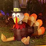 Gemmy Turkey Wearing Pilgrim Hat Inflatable Airblown Yard Decoration, 3-Feet Tall