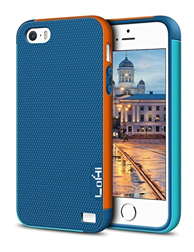 LoHi Case for iPhone 5s/5/Se, [Extra Front Raised Lip] Hybrid Impact 3 Color Shockproof Rugged Soft TPU Hard PC Bumper Cover - Blue