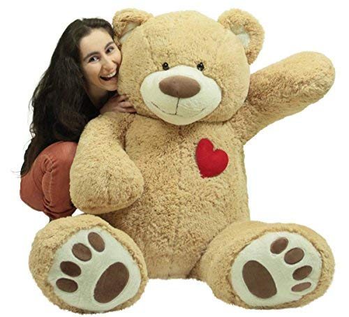 Giant 5 Foot Teddy Bear 60 Inch Soft Plush Animal, Heart on Chest to Express Love for Valentine's Day or Any Day]()