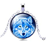 Jiayiqi Women Cool Wolf Silver Color Pendant Chain Glass Time Gem Statement Necklace Gifts