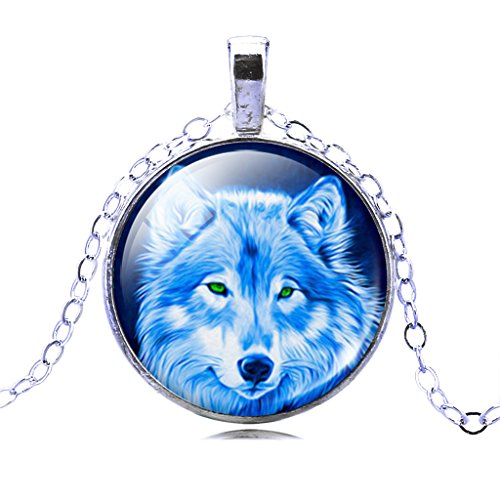 Women Wild Scary Wolf Pendant Necklace Crescent Moon Time Gemstone Statement Necklace