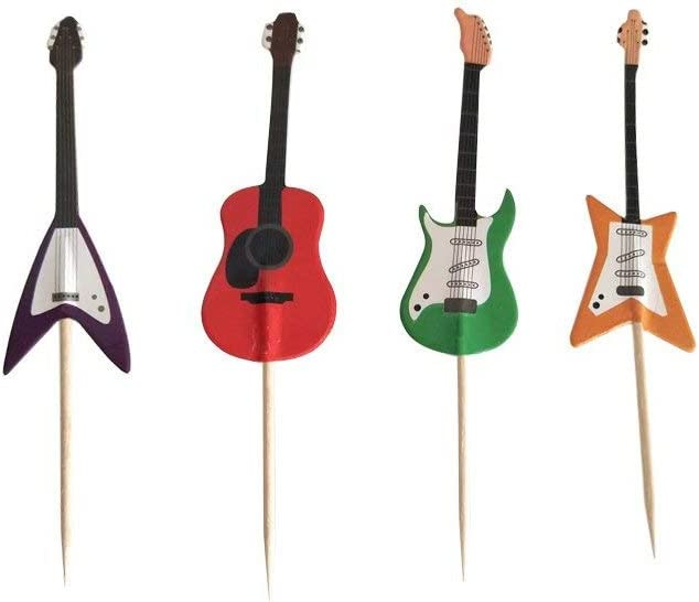Guitar Rock Music Theme Cake Cupcake Toppers Picks for Birthday Wedding Baby Shower Music Themed Party 24 PCS