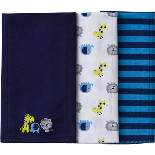Gerber Baby Boys' 3 Pack Knit Burp Cloth, Safari, One Size - Embroidered Baby Burp Cloth