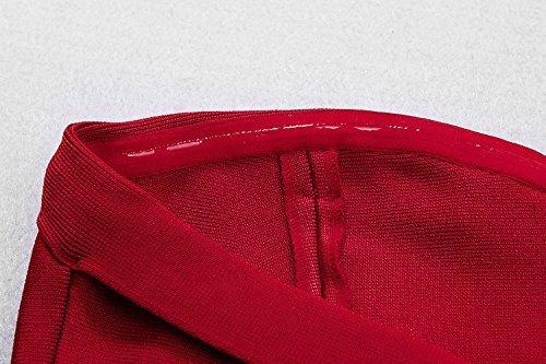 Whoinshop Rayonne De Bustier Ci-dessous Robe Bandage Falbala Du Genou Rouge Des Femmes