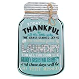 Barnyard Designs Rustic Today I Will Be Thankful Mason Jar Decorative Wood and Metal Wall Sign Vintage Country Decor 14''x 9''