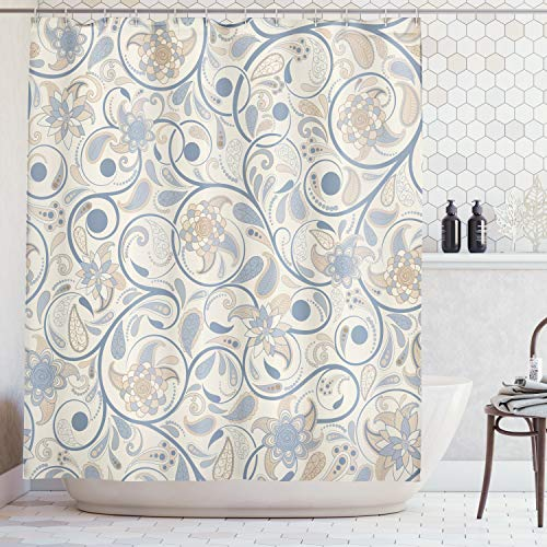 Oriental Curtain - Ambesonne Vintage Shower Curtain, Oriental Scroll with Swirling Leaves with Eastern Design Inspirations, Cloth Fabric Bathroom Decor Set with Hooks, 75 inches Long, Slate Blue