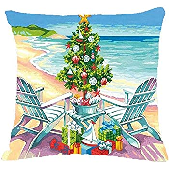 ZYCH Keepsake A Day at The Beach Christmas Ornament Cotton Linen Square Throw Pillow Case Cushion Cover 18 x 18 Throw Pillow Covers (5)