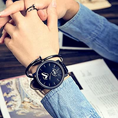 Amazon.com: AiSmarter(TM) Lover Unisex Watch Women Men Clock Quartz Analog PU Leather Strap Watches Relojes Wristwatches Yes or No Pattern [1]: Sports & ...