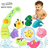 ACTRINIC 10pcs Baby Toys Bath Toys,Bathtub Floating Toy-Fishing Net,ladybug,frog,Cows,four little ducks,Super Fun in Bathroom Pool Bath Time,Early Educational Toys for 1 2 3 Year Girls and Boys Kids or Toddlers(BEST GIFTS)
