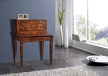 Bureau cabinet bois massif d acacia laqué nougat style