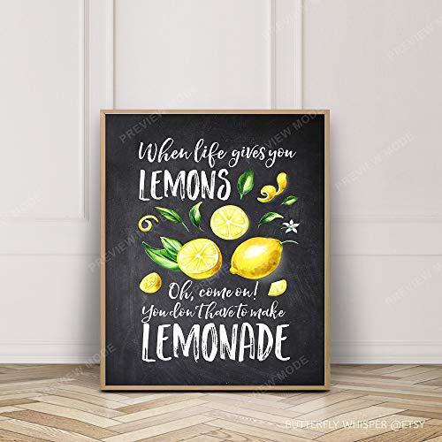 Lemons Wall Art Chalkboard Kitchen Decor Framed Wall Art