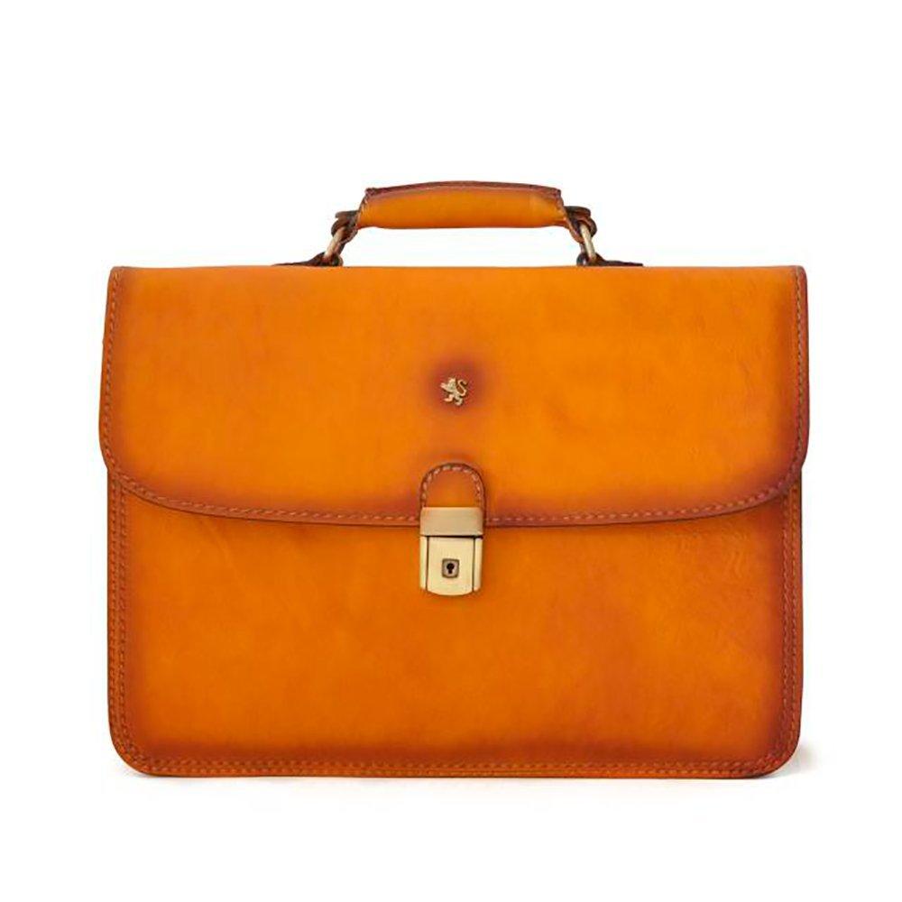 Pratesi Mens [Personalized Initials Embossing] Italian Leather Cerreto Guidi Double Compartment Flapover Briefcase In Cognac by Pratesi