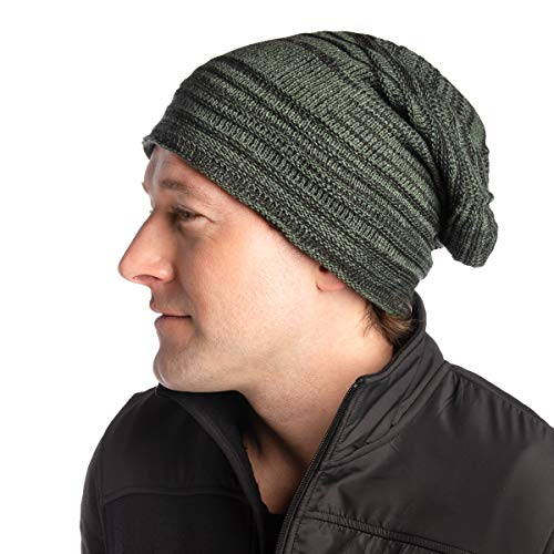 DG Hill Mens Beanie Hat Long Slouchy Striped Ribbed Knit Hat Lightweight Thick - Cap Striped Ribbed