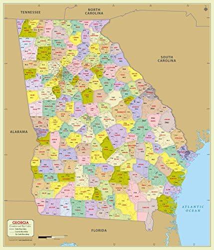 Zip Code Map Georgia Amazon.: Georgia County with Zip Code Map (36