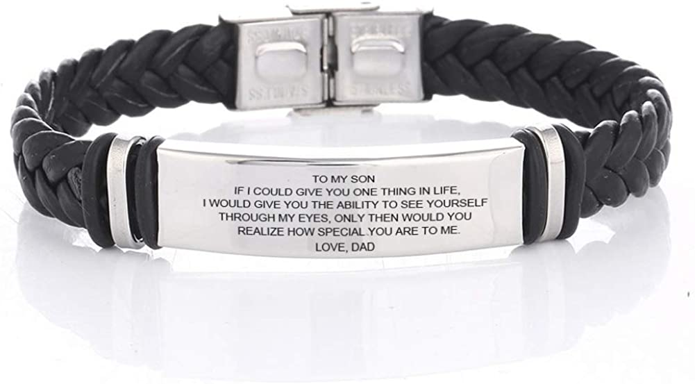 LiFashion LF 316L Stainless Steel to My Son Bracelet Braided Leather Sentiment Motivational Inspiration Cuff Bracelets for Son for Birthday Christmas Graduation Gift from Dad Mom