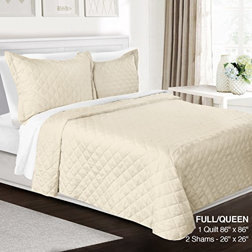 Contemporary Queen Size Quilt - 3 Piece Quilt Set Full/Queen Size By Clara Clark– Luxury Bedspread Coverlet Soft All Season Microfiber – Machine Washable - Comes in Many Colors - set includes Quilt & Shams