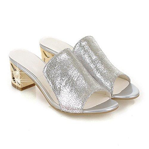AllhqFashion Mujetes Sólido Tacón ancho Puntera Abierta Sandalias de vestir con Diamante Plateado