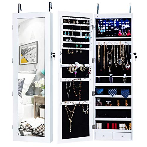 (Homevibes Jewelry Cabinet Jewelry Armoire 6 LEDs Mirrored Makeup Lockable Door Wall Mounted Jewelry Organizer Hanging Storage Mirror with 2 Drawers, White)