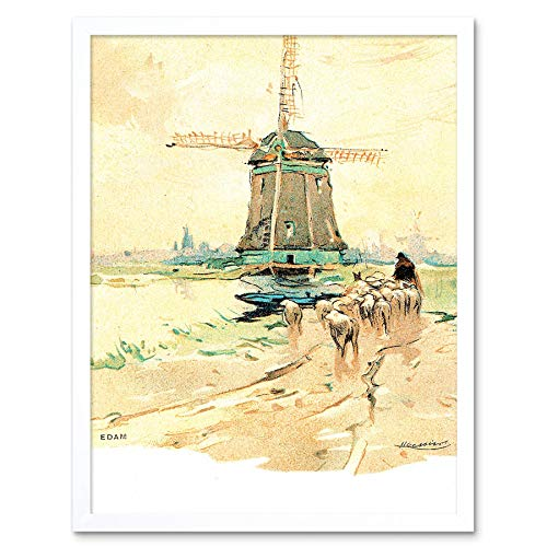 Wee Blue Coo Painting Postcard Edam Netherlands Henri Cassiers Windmill Art Print Framed Poster Wall Decor 12x16 inch