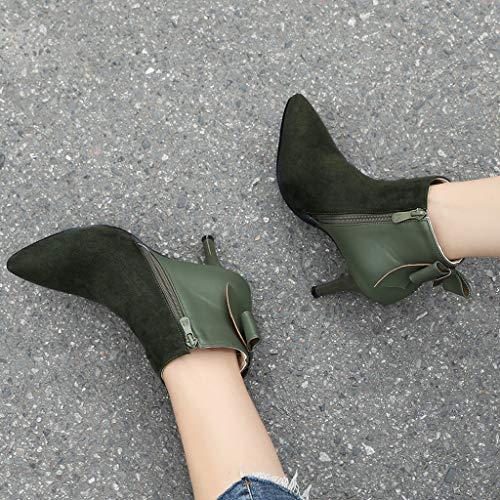 Spillo Short Green A Stivali Da Laterale Inverno Di Zip Sottile In Tacco stivaletti Donna Caldo Camoscio Con Zip wz8vwTq