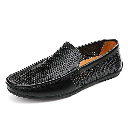 Foot Color Hombre Planos Zapatos Foot para de Negro sólido Guisantes de 4IrHnIwqz