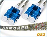 200M OS2 LC LC Fiber Patch Cable | Armored Duplex 9/125 LC to LC Singlemode Jumper 200 Meter (656.16ft) | Length Options: 0.5M-300M | FiberCablesDirect | Alt: ofnr lc-lc smf patch single-mode armored
