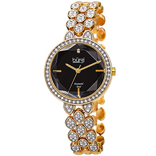 Burgi Designer Women's Watch – Swarovski Crystal Studded Case and Strap, Diamond Marker – Gold Tone Stainless Steel Bracelet, Black Dial - BUR232YGB
