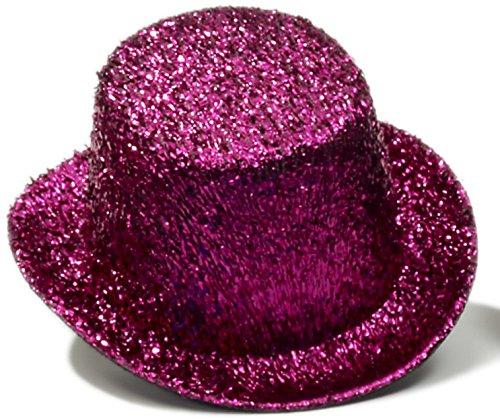 [Hot Pink Glitter Mini Top Hat] (Pink Top Hats)