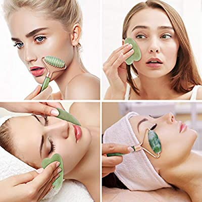 esonmus Jade Roller For Face, 3 in 1 Jade Face Roller Set with Gua Sha Massager Tool, 100% Real Natural Jade Stone Roller for Face, Eye, Neck, Anti Aging, Reduce Wrinkles