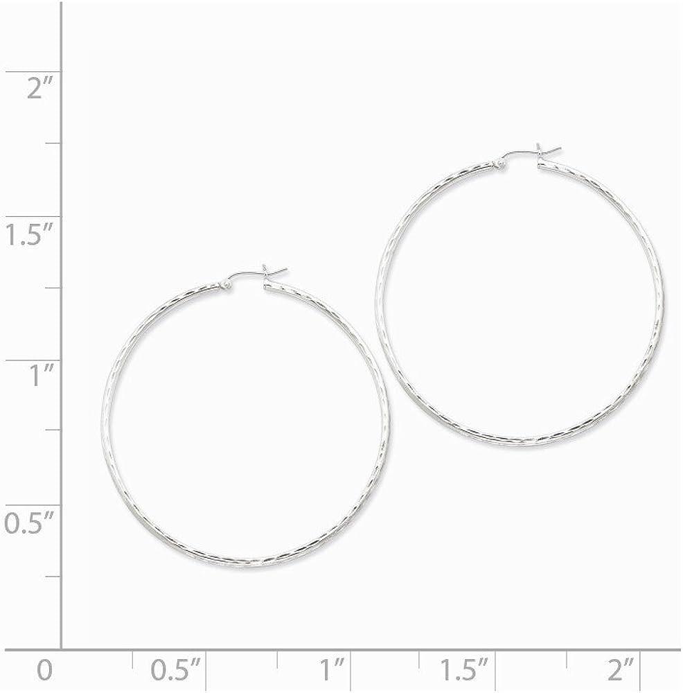 925 Sterling Silver Rhodium-plated 2.00mm Diamond Cut Hoop Earrings