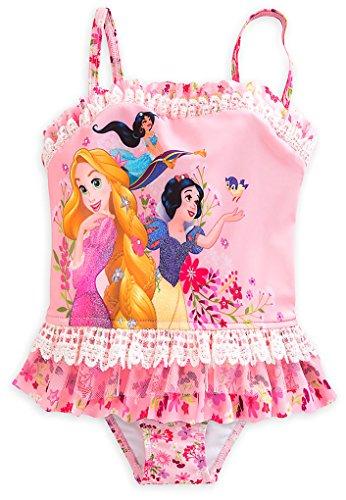Disney Store Little Girls' Disney Princesses Glitter Accents Deluxe Swimsuit, Size 2