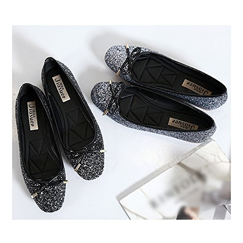 Thin 39 Square Flat grey Dazzling Bowknot Shoes Metal Paillette fZqHR7wnX