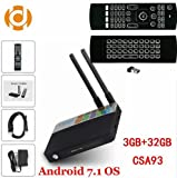 (with MX3 Backlit Keyboard) Android 7.1 TV Box 3GB RAM 32GB ROM Amlogic S912 Octa Core CSA93 Streaming Media Player 2.4G/5G WiFi BT4.0 4K