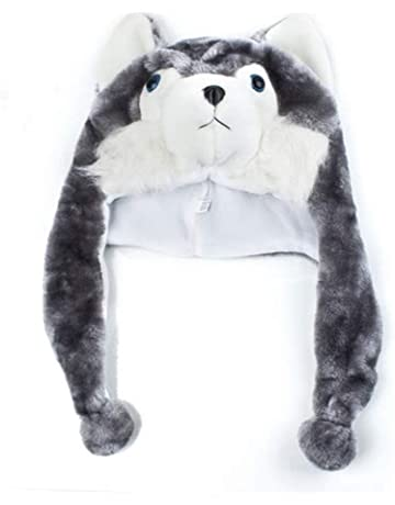3511ebce82c Happy Bargains Ltd Cartoon Animal Shaped Children Adults Winter Warm Soft  Plush Hood Earmuff Scarf Hat
