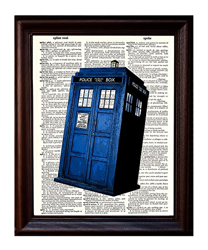 Dictionary Art Print - Dr. Who Tardis British Blue Police BOX Booth - Printed on Recycled Vintage Dictionary Paper - 8.5