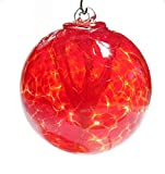 Iron Elegance Witch Ball Hand Blown Glass (Garnet Red)