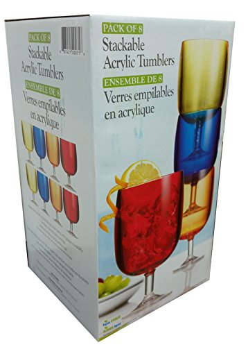 Break Resistant Colorful Stackable Acrylic Wine Stem Tumblers With Unique Clear Stem Design - Set of 8 (2 of each Color) (Wine Glasses Wholesale)