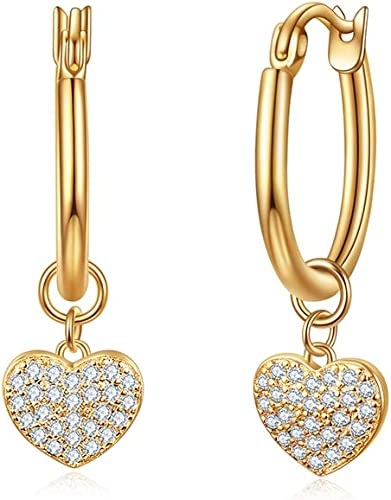 Created Diamond In Cross 18K Yellow Gold GF 1.3cm Hoops