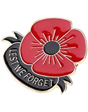 Lovoski Lest We Forget Red Flower Brooches Pins Broach For Hero Soldier Remembrance Day Gifts