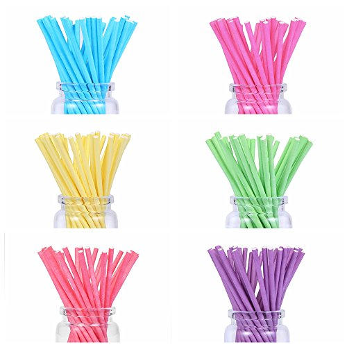 210 count Colored Lollipop Sticks 4 inch 7 Colors (Rose-red, Blue, Yellow, Purple, Green, Watermelon Red, White) (Sticks Colored)