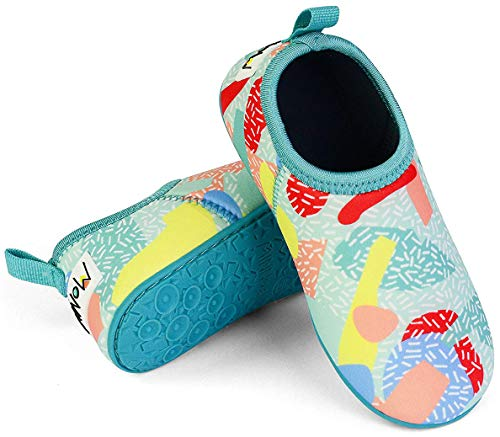 Minnow Designs Kids Water Shoes Cute Comfortable Snug Fit Beach Aqua Socks with Non Slip Hard Sole for Junior Boys and Girls - 9, Sprinkles by Minnow Designs