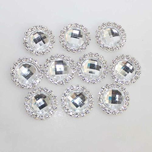 10x Crystal Flatback Rhinestone Gem Buttons Wedding Embellishment Craft Hair Bow (Color - Clear)