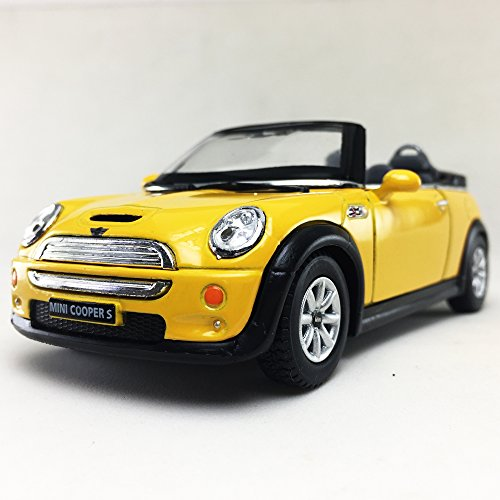 Mini Cooper S Convertible, Yellow Color Kinsmart 1:28 DieCast Model Toy Car Hobby Collectible