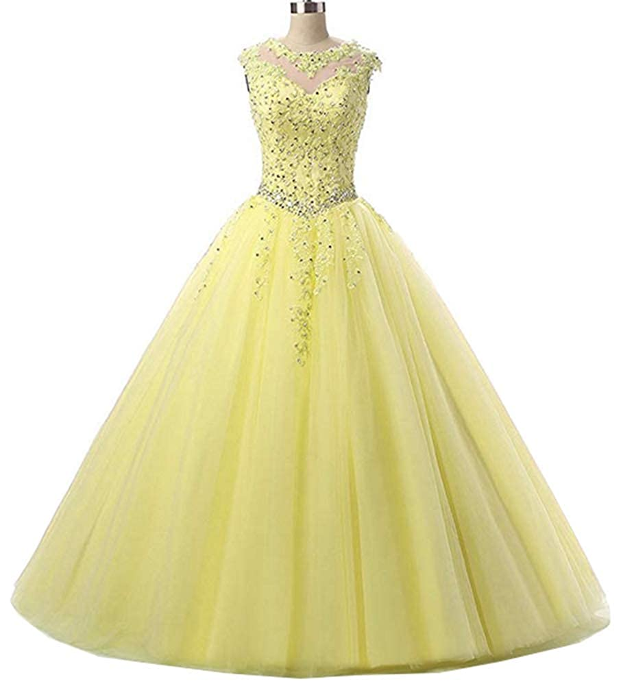 Yellow Yuki Isabelle Women's Lace Appliques Sequined Evening Party Dress Long Wedding Ball Gown